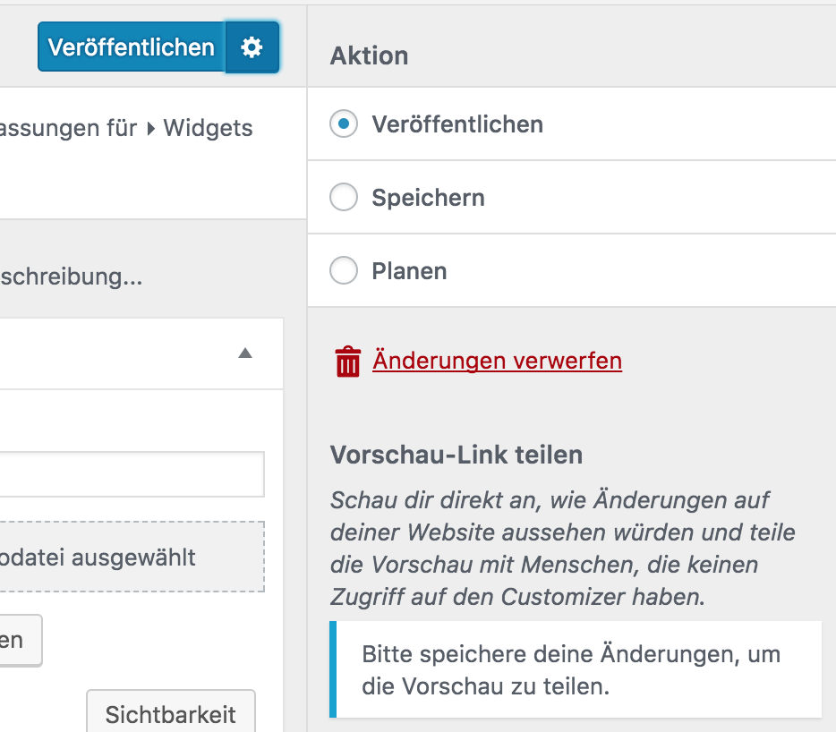 WordPress 4.9 - Customizer-Vorschau