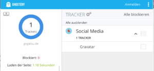 Gogatsu.de in Ghostery: kein Tracking-Tool