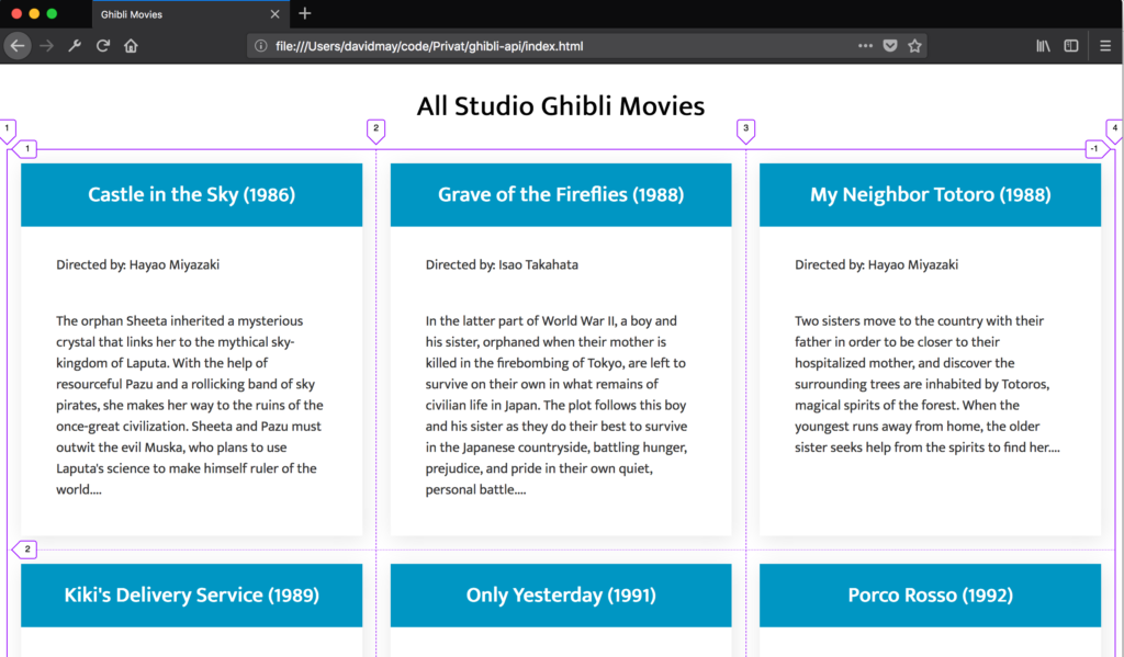 Ghibli API CS Grid